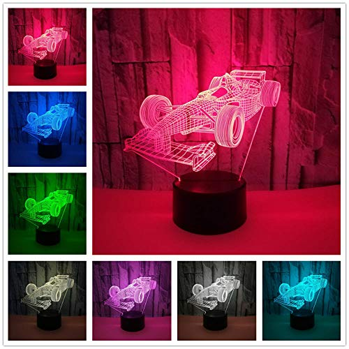 Luces Mesita De Noche Coche De Carreras 3D Lámpara De Ilusión Luz Noche Para Niños 7 Colores Cambio Touch Control Con Cable Usb Regalo De Cumpleaños