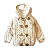 Lifestyler Fashion Cute Girl Warm Knitted Hooded Tops Sweater Outfit Coat Casual Button Jacket (Beige, 2/3T)