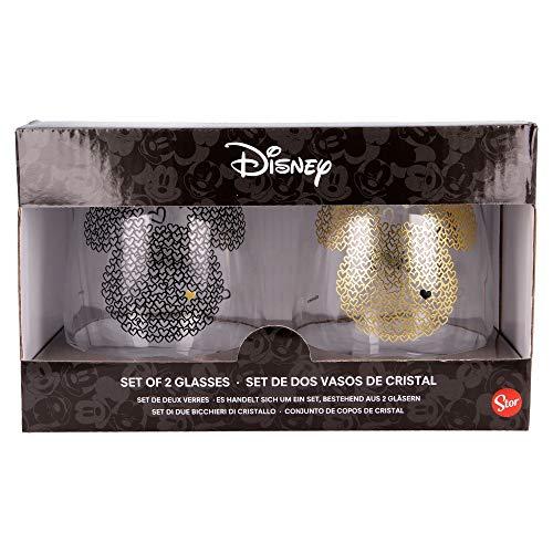 Mickey   Juego De Vasos De Agua- Vaso Set 2 Piezas De Cristal - Vaso Clásico Con Grabado Para Licores, Cócteles Y Zumo - 510 Ml
