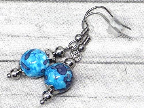 Pendientes de mujer en acero inoxidable y perlas de Jade tintadas en azul y blanco