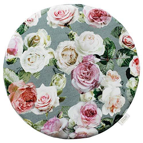 APELT Summergarden 1624 Sitzkissen Ø 38 cm grün/Rose