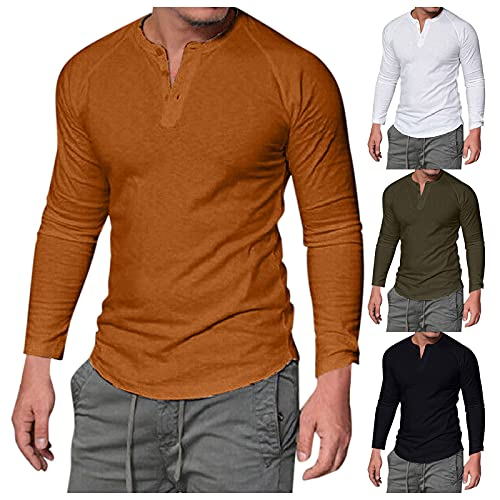 Herren Rundhals T-Shirt mit Knopfleiste Einfarbiges Tops Freizeitpullover Langarmshirt Herbstshirt Rundhal Trainingsshirt Sport Arbeit Einkaufen Herrenshirt