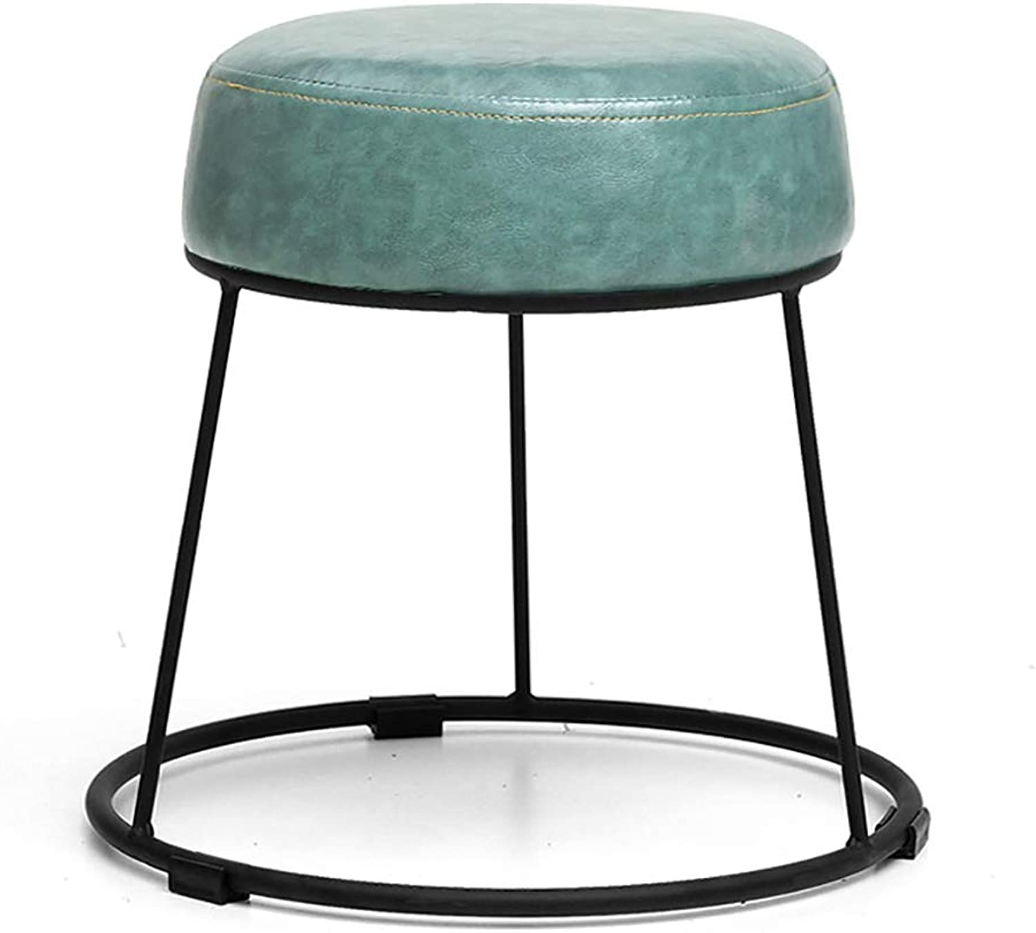 Home Stool Wrought Iron Stool Leather Art Bench Dining Table Dining Table Stool Fashion Round Stool Makeup Stool (color   B)