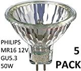 Philips 5Pack halogène 12V 50W MR16 GU5.3 36D 4000Hrs Dimmable halogène...