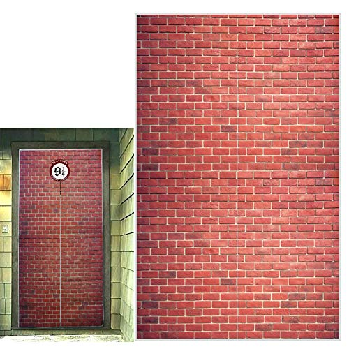 """Platform 9 and 3/4 King's Cross Station, Curtains Door, Red Brick Wall Party Backdrop, Secret Passage to The Magic School, Platform Party Supplies Halloween Christmas Decoration 78.7""""x 49.2"""" Inch"""