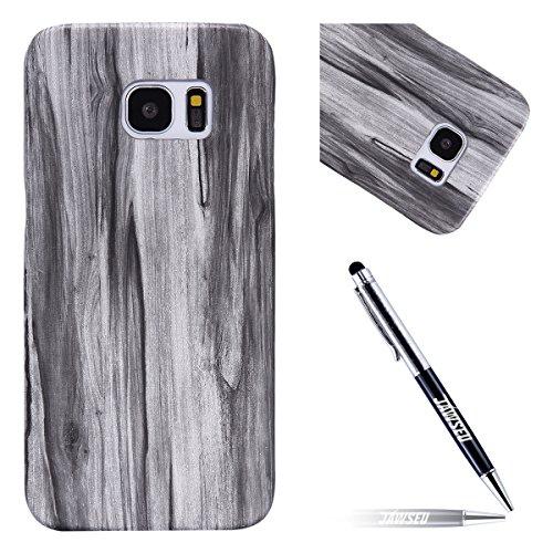 JAWSEU Cover Compatibile con Samsung Galaxy S7 Edge Plus Custodia Legno, Creativo Originale Genuino Legno Protettiva Custodia Durable Wood Case Antiurto Bumper Case Hard Cover Durevole Custodia