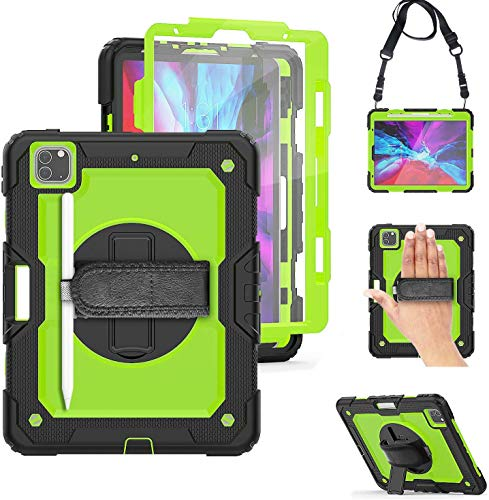 iPad Pro 12.9 2020 Case with Pencil Holder  TSQ iPad Pro 12.9 4th Generation Case Rugged High Impact Resistant Kidsproof Protection with Screen Protector 360 Stand/Hand Grip Shoulder Strap   Green