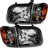 LBRST Headlight Assembly For Toyota Sequoia 2005-2007 For Toyota Tundra 2005-2006 Black Housing Amber Reflector Clear Lens Driver And Passenger Side Headlamp
