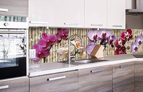DIMEX LINE Küchenrückwand Folie selbstklebend Orchidee | Klebefolie - Dekofolie - Spritzschutz für Küche | Premium QUALITÄT - Made in EU | 260 cm x 60 cm