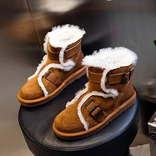 S-vision Botas de nieve de lana para mujer, de tubo medio, cálidas, informales, planas, cómodas, con forro de piel, antideslizantes, color marrón CN35 = EU36 = US5 = UK3 = JP22