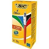 BIC Ecriture 4 Couleurs Original Stylos-Bille Rétractables Pointe Fine (0,8 mm) - Certifiés NF Environnement - Boîte de 12