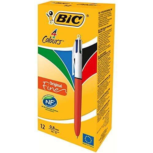 BiC - Bolígrafo Retractable en 4 colores, de punta fina de 0,8 mm , el cuerpo en colores naranja y blanco paquete de 12 unidades