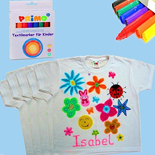 German Trendseller®- 10 x Kinder T-Shirts + Gratis: 16 x Bunte Textilstifte ┃ Größe: 110 (ca. 4 - 6 Jahre)