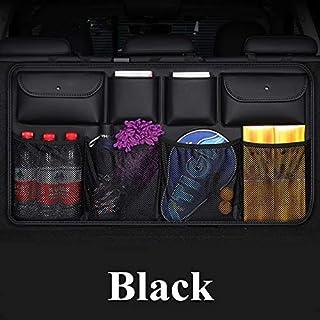 visionrabbit PU Leather Car Trunk Storage Organizer Bag Universal Multi-Pockets Auto Back seat Stowing Tidying Interior Car Styling Black Carmixs-46