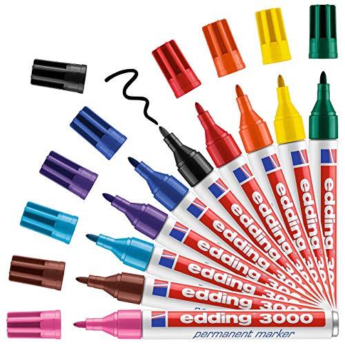 edding 3000 Permanentmarker - 10 Stifte in Stiftehalter - Rund-Spitze 1,5-3 mm - schnell trocknender Permanent Marker - wasserfest, wischfest - für Karton, Kunststoff, Holz, Metall - Universalmarker