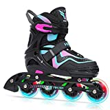 FIHUNY Adjustable Inline Skates for Kids with Light up Wheels ,Roller Blades Skates for Girls and Boys,Women,Pink Large-Youth(4-7 US)