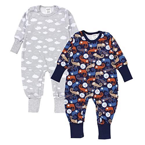 TupTam Baby Jungen Schlafstrampler Gemustert 2er Pack, Farbe: Farbenmix 6, Größe: 62-68