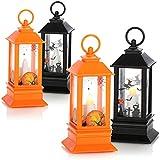 com-four® Lanterne Halloween 4X avec lumière LED, Lanterne à Piles avec Rire comme Effet sonore pour Les Enfants à Mardi Gras, Carnaval, Halloween