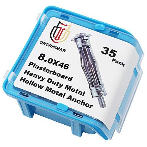 ORGRIMMAR Hohlraumanker Metall Hohlraumdübel Set Hohlraum Metalldübel Box,35 ger Pack(8x46 mm)