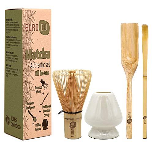 EURODO Juego de ceremonia de té japonés Matcha - Batidor de bambú (Chasen) - Cuchara de bambú (Chashaku) - Cuchara de té de bambú - Soporte de batidor de cerámica(Azul) (All in one)