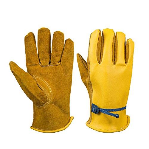 Adesugata Gants de travail – -- Town & Country Grande qualité supérieure doublée de cuir Gants de jardinage pour homme, gants de moto, le camping, barbecue, 1 paire de gants de travail …