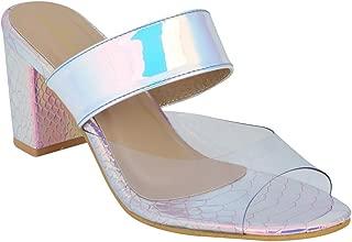 pelle albero Womens Purple Block Heel Slippers