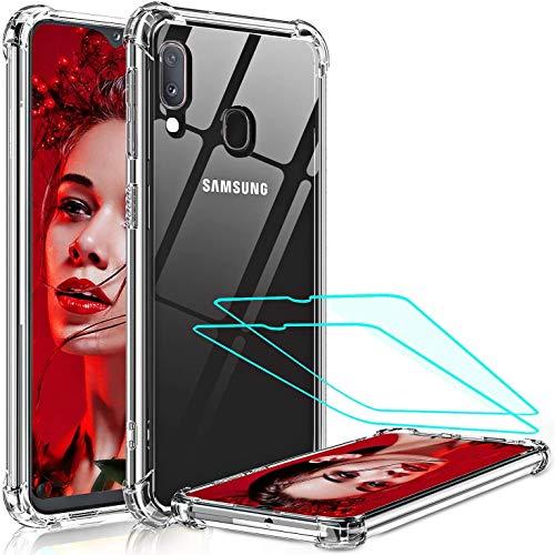 LeYi Funda para Samsung Galaxy A20e con [2-Unidades Cristal Vidrio Templado],Cristal Transparente Shockproof Carcasa Ultra Silicona PC y TPU Slim Gel Bumper Antigolpes Case para Movil A20e,Clear