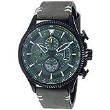 avi-8 men's 45mm green genuine leather band steel case quartz analog watch av-4064-02