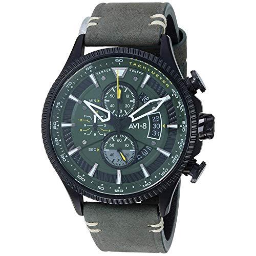 AVI-8 Reloj de Hombre Cuarzo 45mm analógico Correa de Cuero Genuino AV-4064-02