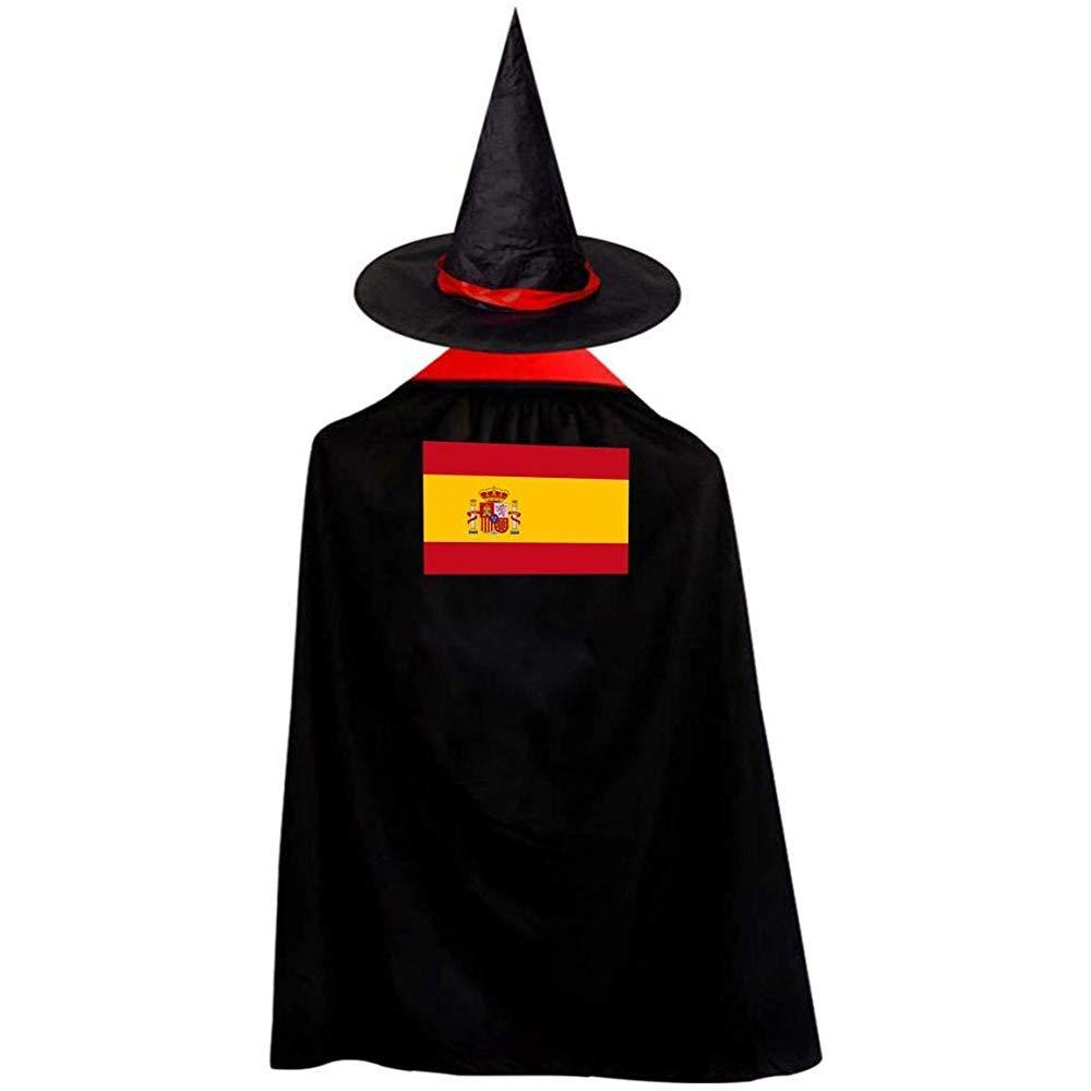 OKME Custom Manto De Bruja,Bandera De España Capa De Mago Brujo Capa con Sombrero Disfraces De Halloween para Niñas Niños Rojo 70Cm: Amazon.es: Hogar