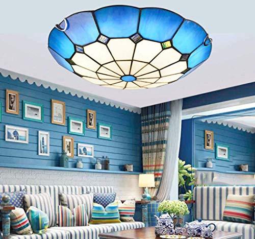 JYTBD Iluminación de decoración artística, estilo Tiffany, luces de techo LED azules, estilo vintage, mediterráneo, lámpara de techo para dormitorio, sala de estar, pasillo, lámpara de techo, LED