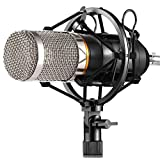 ZINGYOU BM-800 Condenser Microphone, Cardioid Studio Recording Microphone with Shock Mount, XLR Cable (Renewed)
