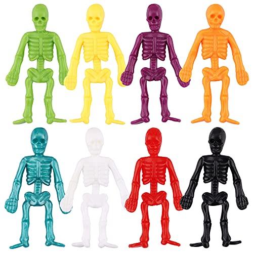 64 piezas Mini Modelo de Figuras de Esqueleto Elásticos de Halloween Esqueleto de Halloween Decoraciones de Halloween de Miedo Esqueleto de Goma Halloween Regalos Juguetes de Truco Halloween para niño
