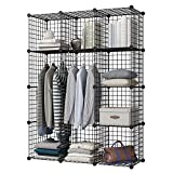 KOUSI Portable Wardrobe Closets Wire Shelf, Cube Storage, Bedroom Armoire, Storage Organizer (12 Cubes)