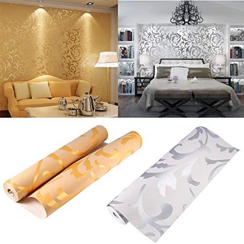 Papel pintado 3D de lujo, diseño victoriano en relieve, rollo de papel de pared para decoración de habitación de TV, rollo de papel de pared,10mx0,53 m (plateado)