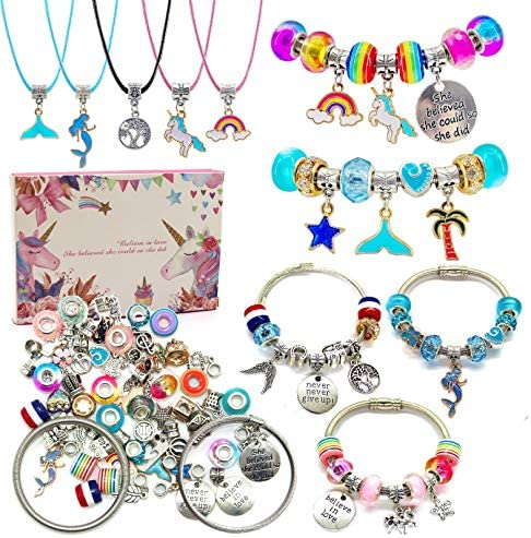 Charm Bracelet Making Kit Jewelry Making Supplies Beads Unicorn Mermaid Crafts Gifts Set for product image