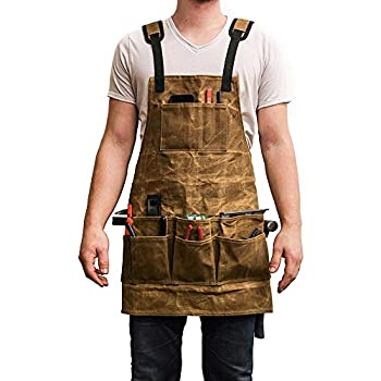Tool Apron ALLOMN Waxed Canvas Woodworking Apron with 6 Pockets Heavy Duty Tools Shop Work Apron