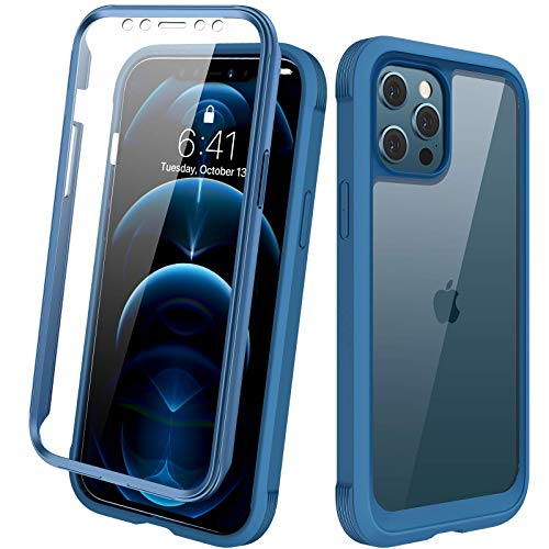 "Diaclara Designed for iPhone 12 Pro Max Case, Full Body Rugged Case with Built-in Touch Sensitive Anti-Scratch Screen Protector, Soft TPU Bumper Case for iPhone 12 Pro Max 6.7"" (Blue and Clear)"