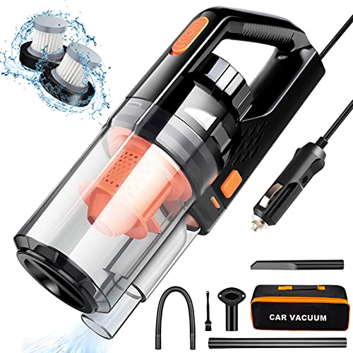 Car Vacuum, CherylonLife Portable Car Vacuum Cleaner High Power 150W/7500Pa for Car Interior Cleaning with Wet or Dry for Men/Women, 16.4 Ft Corded (Black)