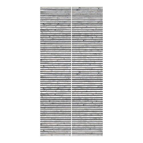 Bilderwelten Schiebegardinen Holzwand mit Leisten schwarz weiß Ohne Aufhängung, 2X 250 x 60cm