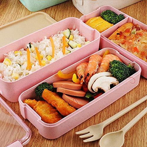 GYC Caja de Almuerzo Saludable portátil con Bolsa Material de Paja de Trigo Cajas de bento Microondas Vajilla Contenedor de Almacenamiento de Comida Caja de Almuerzo para niños