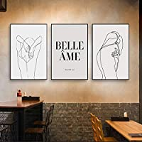 女性の線画北欧ポスタープリントモダンキャンバス絵画ウォールアートフラワーガール北欧モダンホームデコレーション(70x90cm)3pcsフレームなし