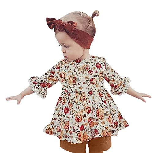 Julhold Peuter Baby Meisjes Leuke Mooie Drie kwart Ruches Bloemen Print Katoen Jurk+Effen Shorts Outfits 1-4 Jaar