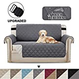 BellaHills Waterproof Sofa Protectors 2 Seater from Pets/Dogs Couch Covers Love Seat Cover Non-Slip Furniture Covers for Sofa with Strap, Soft Thick Quilted Reversible (2 Seater: Grey/Beige)
