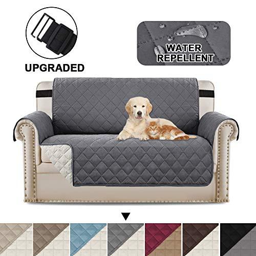 Zweisitzerabdeckungen Loveseat-Schonbezug-Schutzfolie, reversibel in Position bleiben Möbelschutzhüllen/Überzüge für Hunde/Cat Love Seat - Grau/Beige
