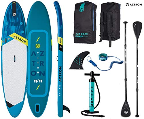 AZTRON Titan 11.11 Inflatable SUP Stand up Paddle Board mit Style Alu Paddel und Leash 363x80x15cm