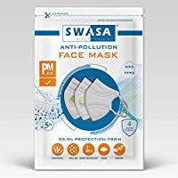 SWASA - Breathe clean air FFP2 Certified Reusable Respirator (White, N95, Pack of 5)