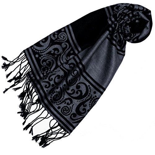 Lorenzo Cana – Eleganter jacquard gewebter Schal - Tuch Anthrazit Grau Schwarz Schaltuch gewebt 32 cm x 180 cm - 93204