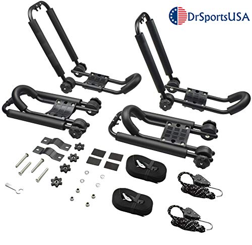 DrSportsUSA 2 Pairs Universal Foldable J-Bar Kayak Rack Folding Car Roof Top Carrier for Canoe, SUP and Kayaks Mounted on Your Car SUV