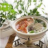 Braiser Pan cazuelas, olla caliente Yin Yang en ambos lados con partición doble Yuanyang Hot Pot Donabe arcilla japonesa resistente al calor, cazuela gruesa (color: 2,8 l)